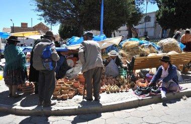 The city  Potosi. Local inhabitants on the city streets