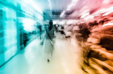 city on business walking street blur motion