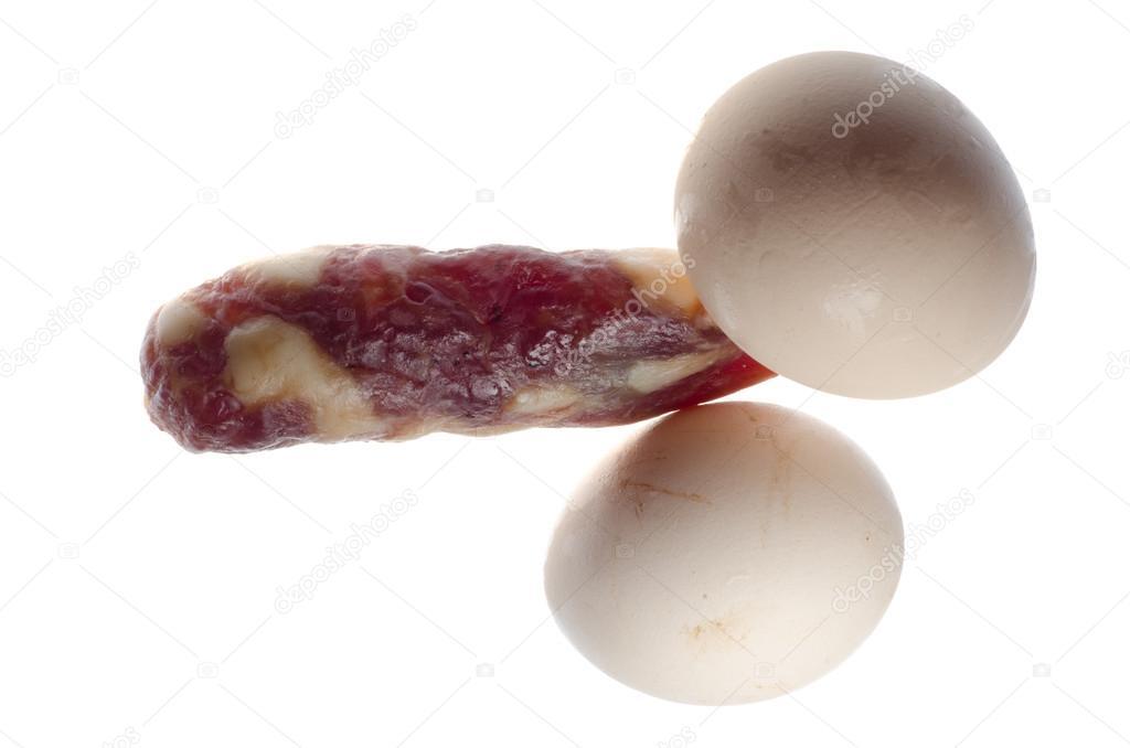 männlichen Penis und Hoden-Konzept-Eiern und Wurst — Stockfoto ...