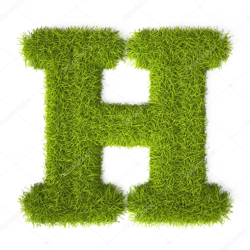 Grass Style Latin Alphabet Letter H Stock Photo