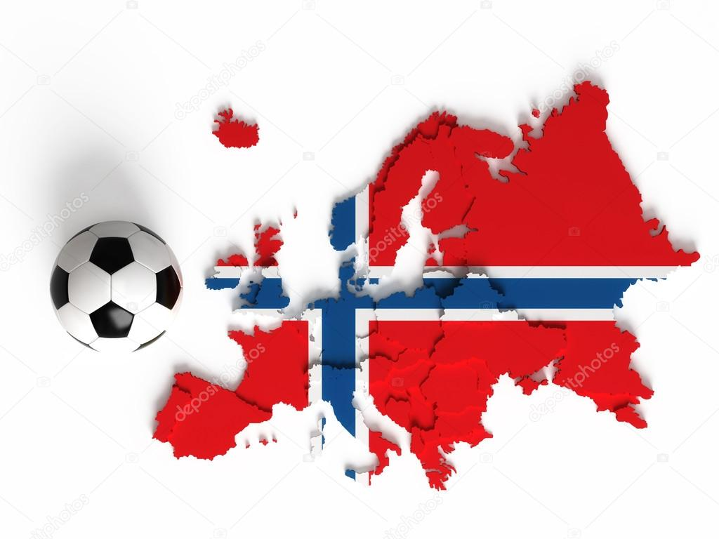 norwegian flag on european map with national borders u2014 stock photo