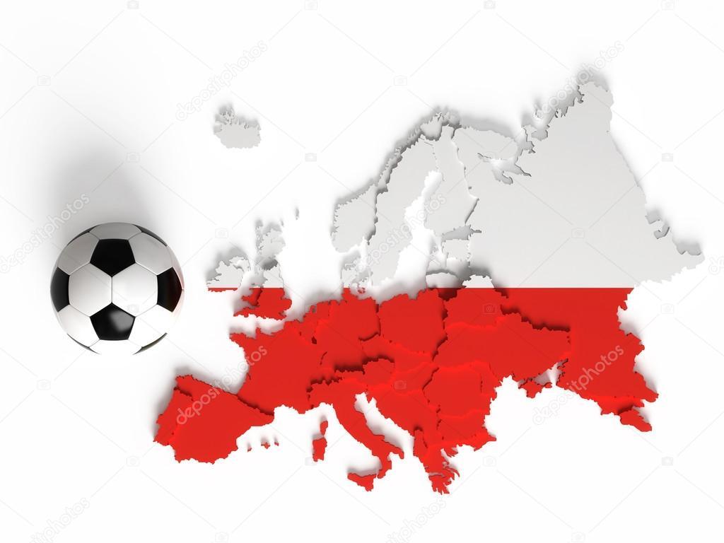 Polish flag on European map with national borders — Stock Photo ...