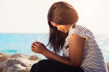 Girl Praying In Nature