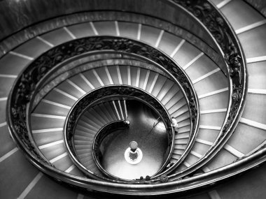 Bramante Staircase black and white, exit stairs from Vatican Cit