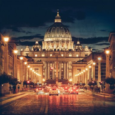 Vintage View of the Basilica church Saint Peter, at dusk - Rome