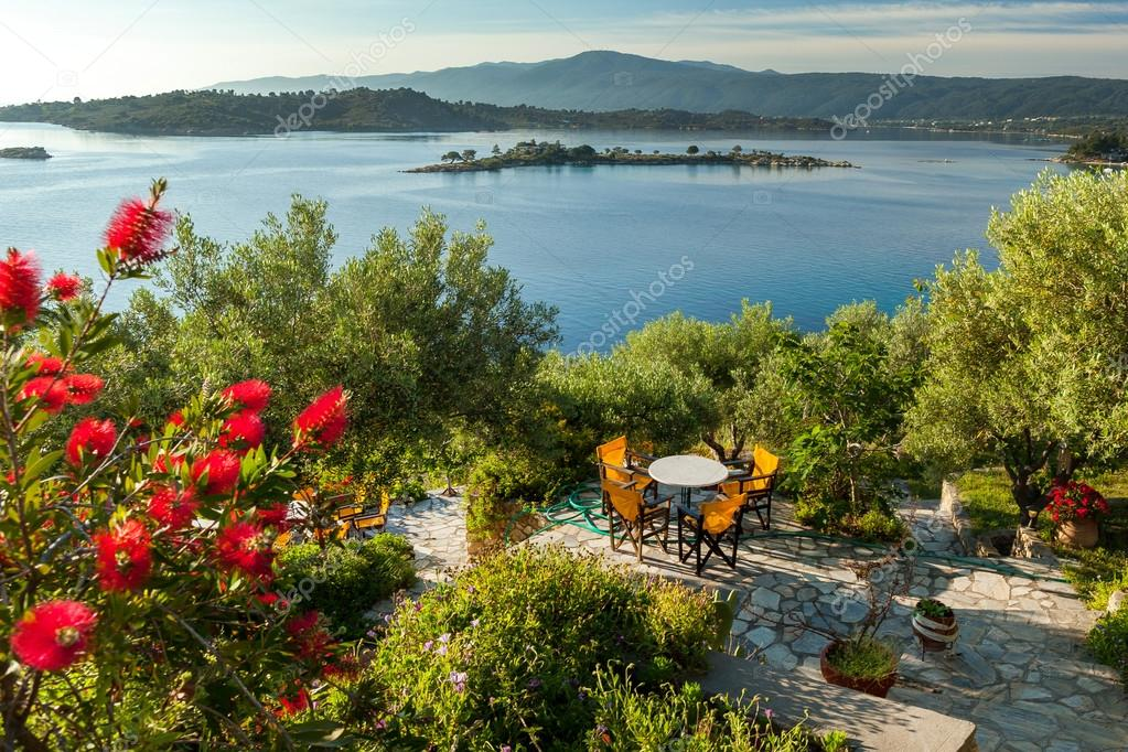 Sea view from apartment in the luxury hotel, Halkidiki, Greece