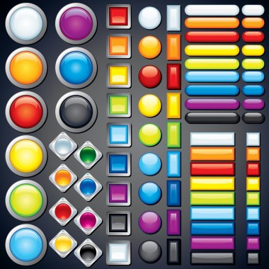 Large collection of shiny colorful bars, buttons, knobs, keys, Vector without transparencies, meshes clip art vector