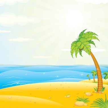 Tropical Island Beach. Vector Illustration