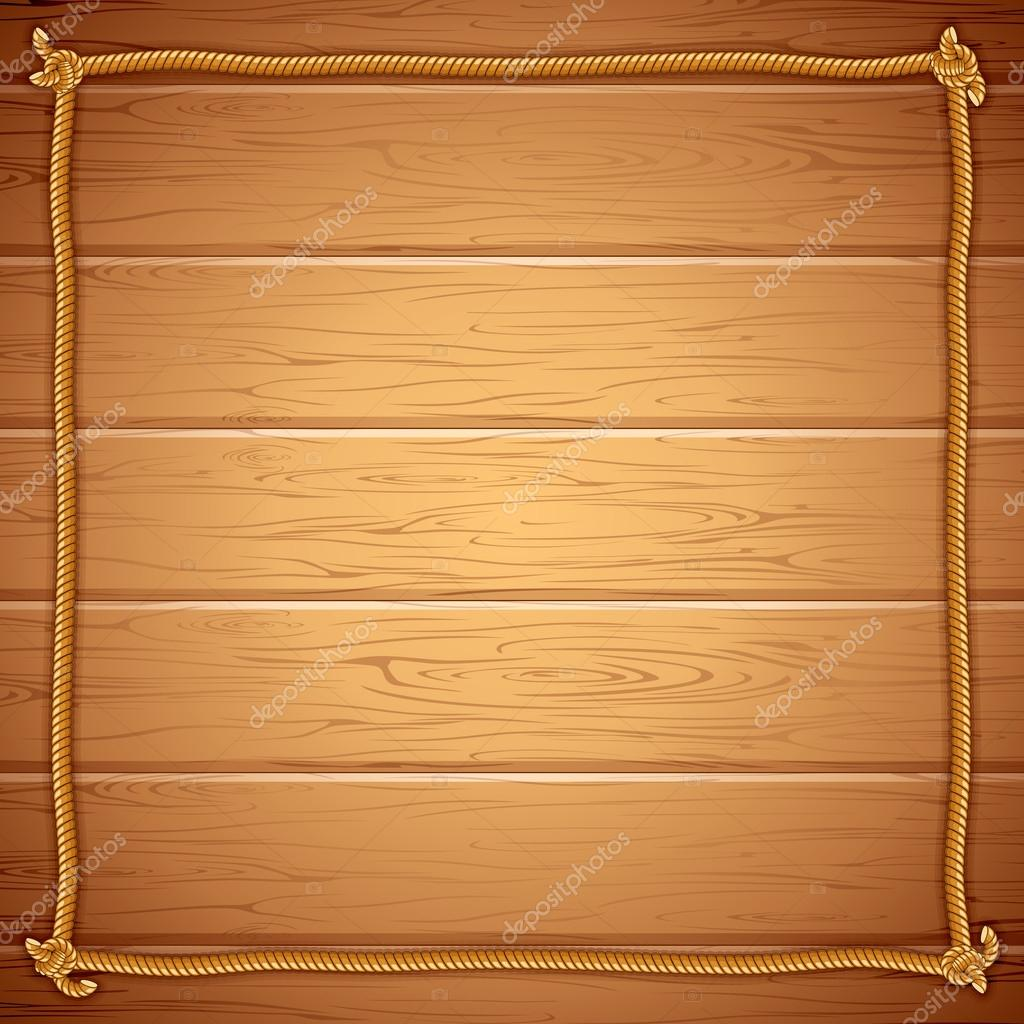 Rope Frame on Wood. Vector Template for Yuor Text — Stock Vector ...