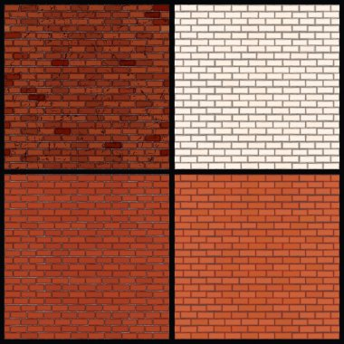 Brick Wall Variants. Seamless Vector Patterns