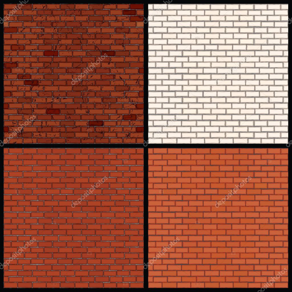 Brick Wall Variants. Seamless Vector Patterns