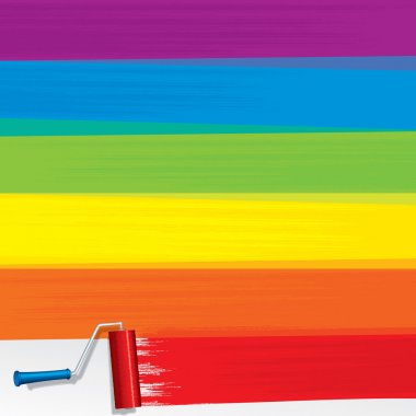 Rainbow Paint Roller Painting a White Wall. Vector