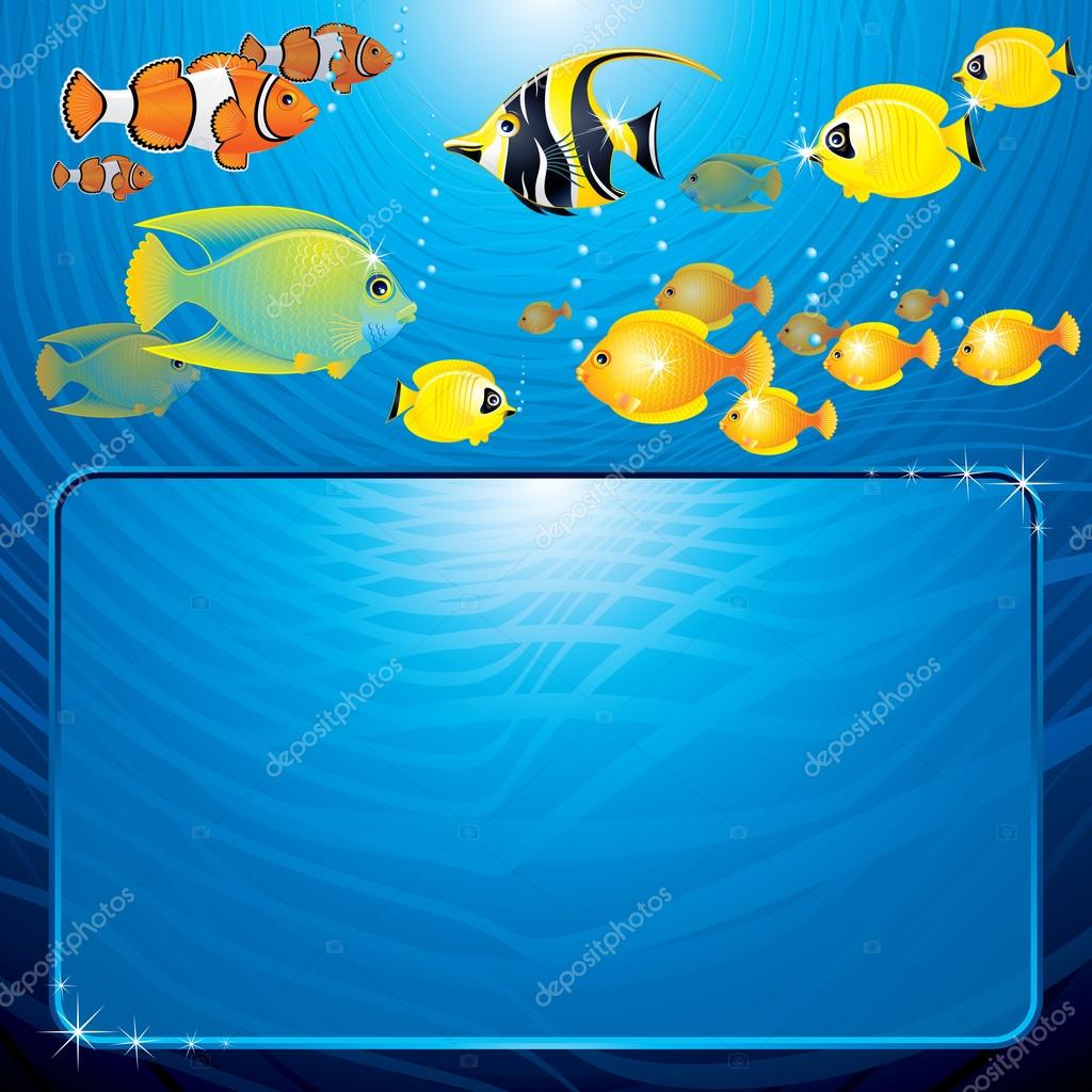 Sea Life Scene. Illustartion with Copyspace