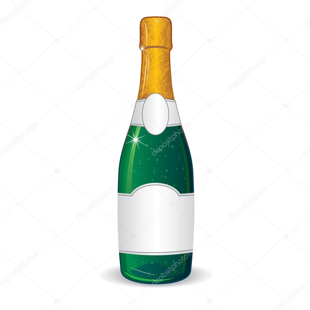 champagne bottle with blank label for your text stock vector