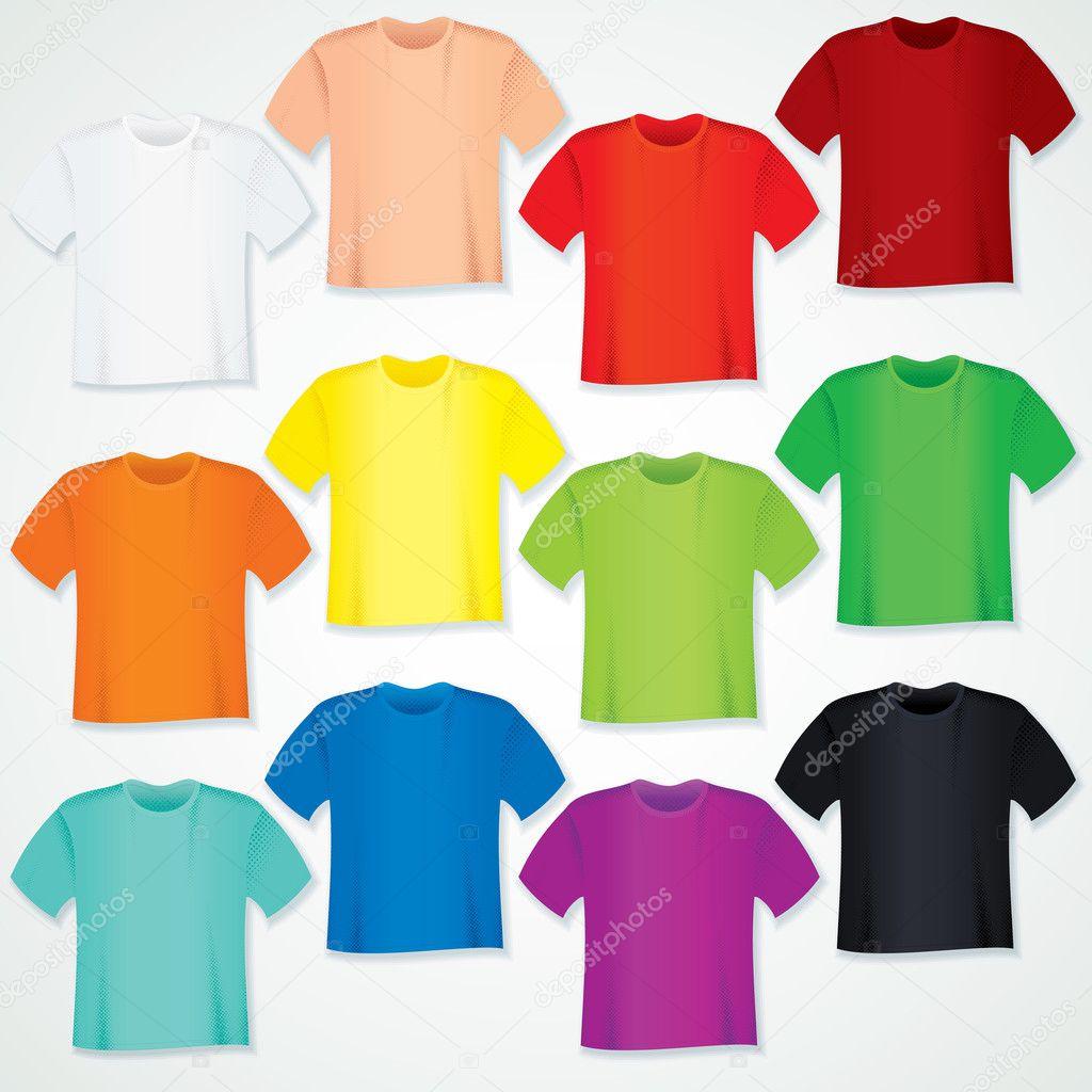 bunte leere t Shirt Kollektion. Vektor Vorlage — Stockvektor ...