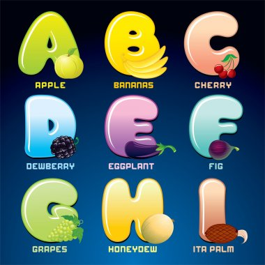 Fruits And Berries In Alphabetical Order.