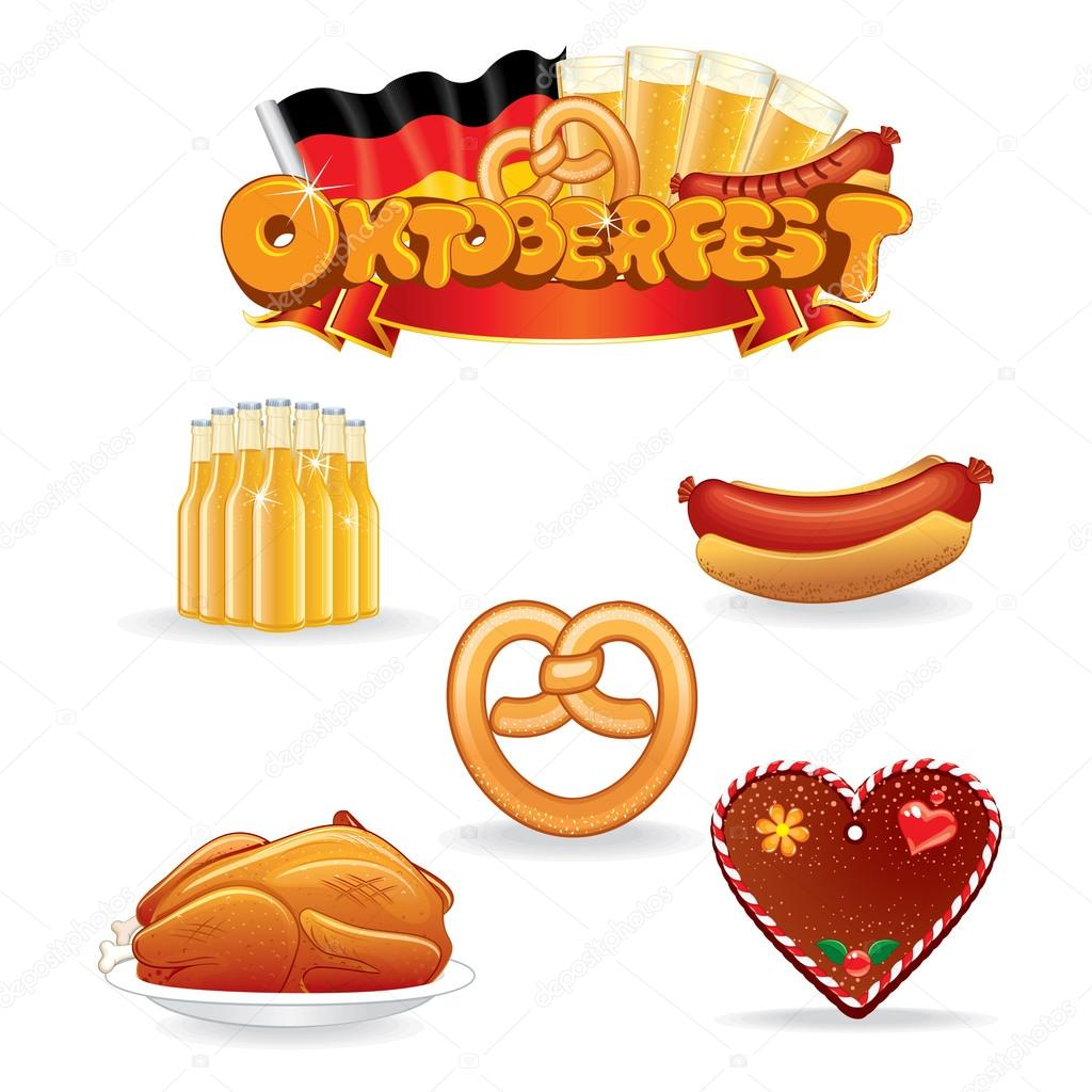 Oktoberfest-Essen und trinken-Symbole. Vektor-ClipArt — Stockvektor ...