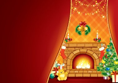 Festive Fireplace and Santa's Gifts .