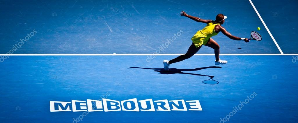 MELBOURNE, AUSTRALIA - JANUARY 23: Venus Williams during her thi