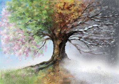 Digital illustration of four season tree. stock vector