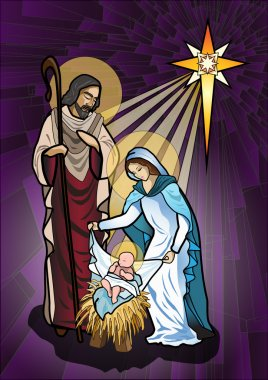 Vector illustration of the holy family of the nativity or birth of Jesus created as stained glass. stock vector
