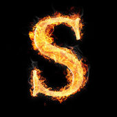Fotografie Fonts and symbols in fire on black background for different purposes