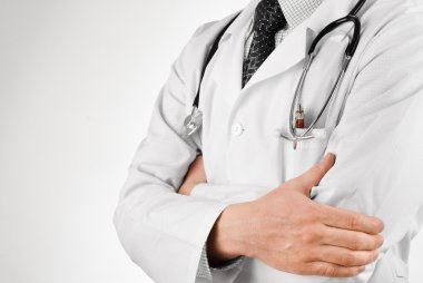 Doctor in black tie with stethoscope studio shot stock vector