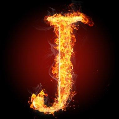 J flamy symbol on black