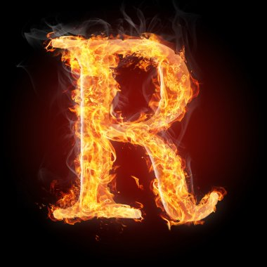 Letters  in fire - Letter R