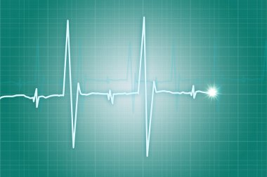 Illustration of heart beat cardiogram on green background stock vector