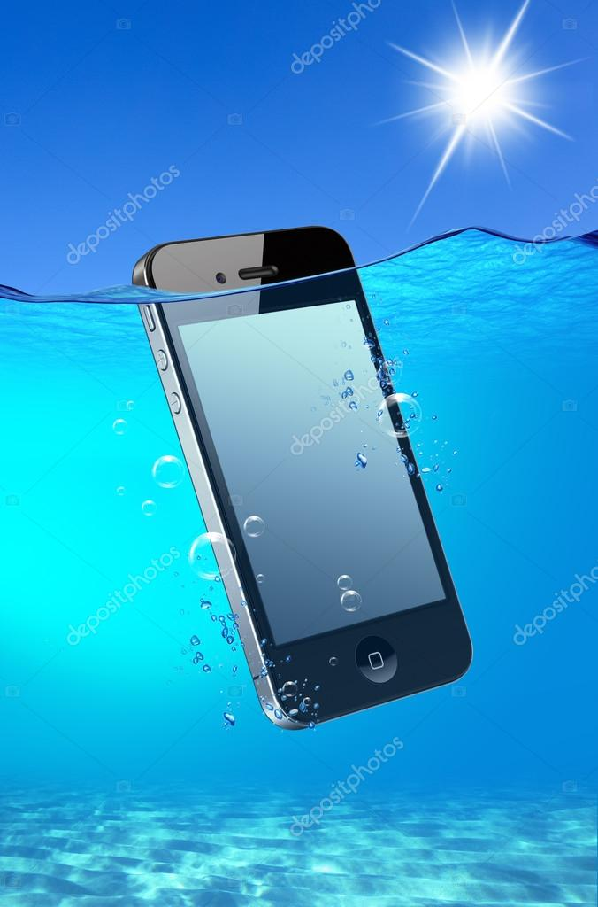 Phone falling into water