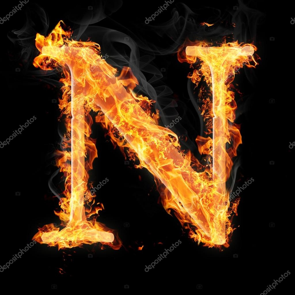 Letters in fire - Letter N — Stock Photo © tsalko #45321309