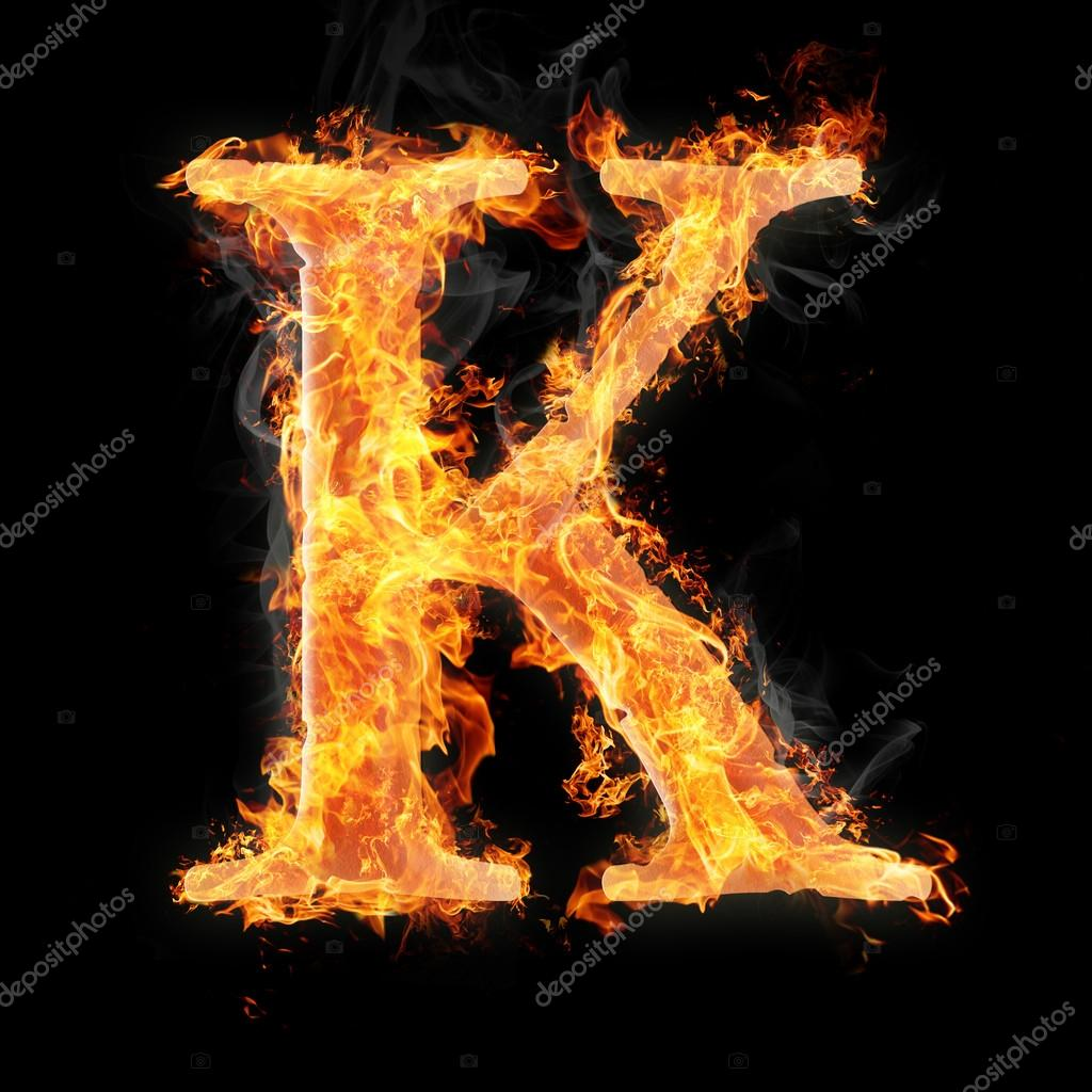 Fonts And Symbols In Fire On Black Background For Different Purposes