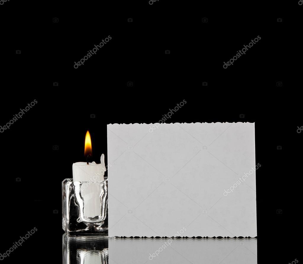 Candle and business card stock photo valzan 35807755 candle and business card on a black background photo by valzan colourmoves
