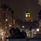 Elizabeth Tower seen from Trafalgar Square at night
