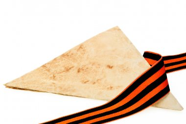 Letters from the front folded into a triangle and George Ribbon