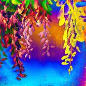 Fényképek Gyönyörű sárga és kék virágok a pszichedelikus háttér