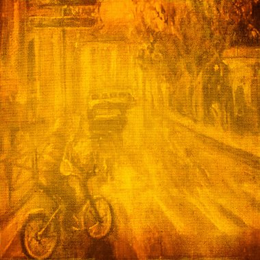 Original oil painting on the old city street canvas.
