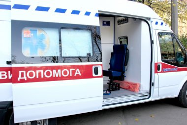 ODESSA, UKRAINE - APRIL 2: Doctors taking new ambulance equipped