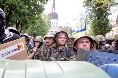 ODESSA, UKRAINE - May 2, 2014 : The tragic riots in downtown com