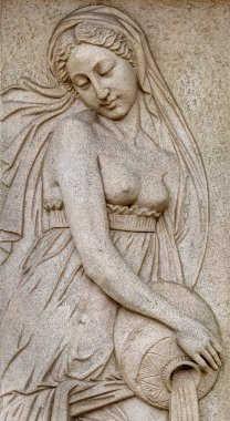 """Картина, постер, плакат, фотообои """"каменный фасад фрески декорации сцены из древнегреческих мифов """", артикул 48125601"""