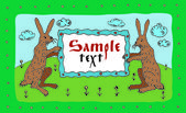 Greeting card with hares.