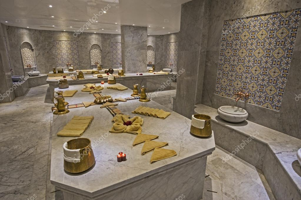 Large turkish bath in health spa — Stock Photo © paulvinten #39916009