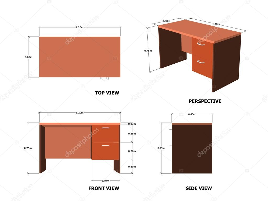 Bureau table plan frontal perspective image vectorielle for Taille standard bureau