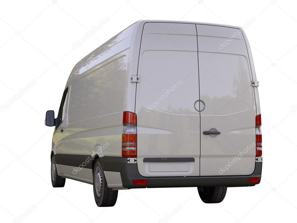 Commercial van isolated