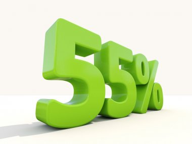 55 percentage rate icon on a white background