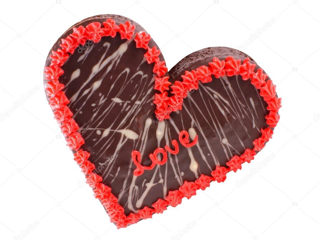 Valentine S Day Chocolate Cake In The Shape Of A Heart With The