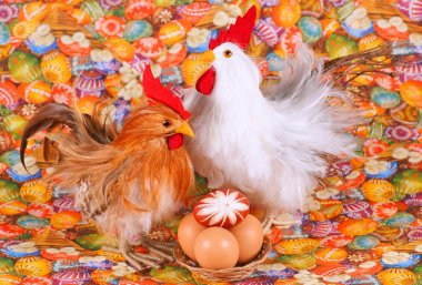 Easter, chicken, egg, on a colored background