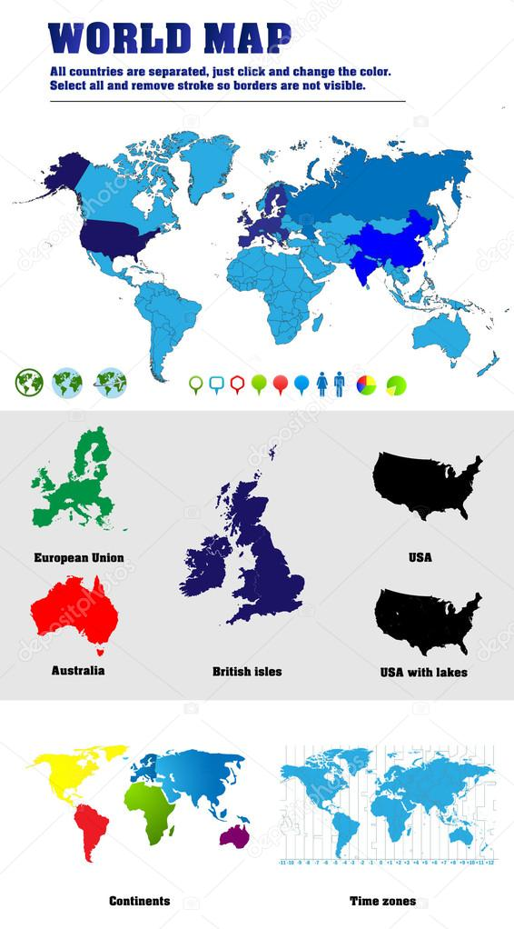 Vector world maps with additional elements elements stock vector vector world maps with map of the world with all countries borders map of australia british isles usa additional map with separated continents and map gumiabroncs Choice Image