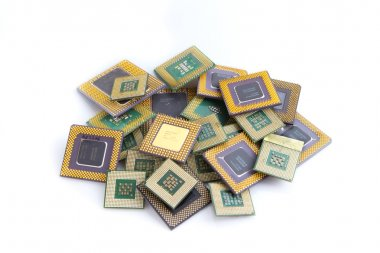 Pile of cpu processors isolated on white background
